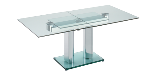 Dining table with extension devices